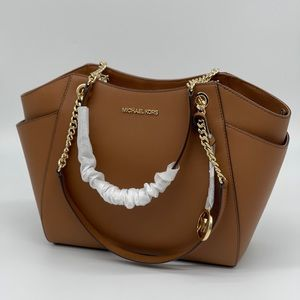Michael Kors LG Chain Shoulder Tote Bag Br…